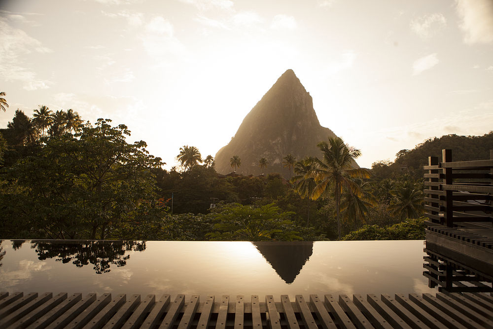 Boucan, with a view of Petit Piton at Hotel Chocolat on Rabot Estate, a working cocoa plantation near the Pitons in St. Lucia.